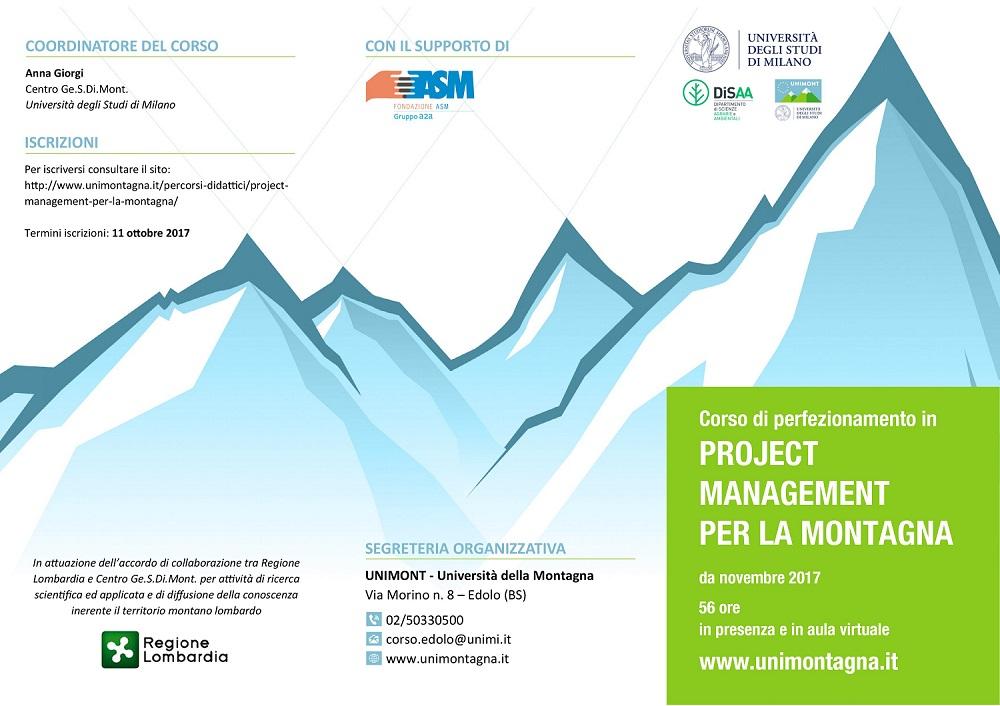 Corso di perfezionamento in project management per la montagna