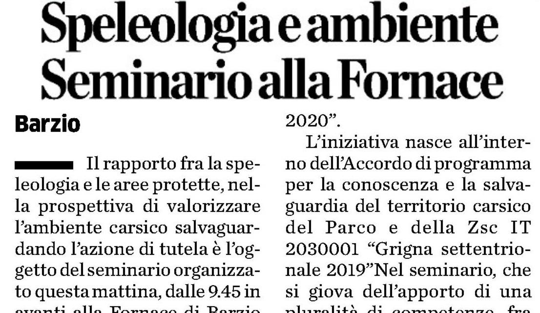 23/11/2019 Speleologia e ambiente. Seminario alla Fornace
